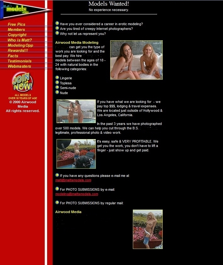 screenshot of www.MattsModels.com Models Wanted page from 1999