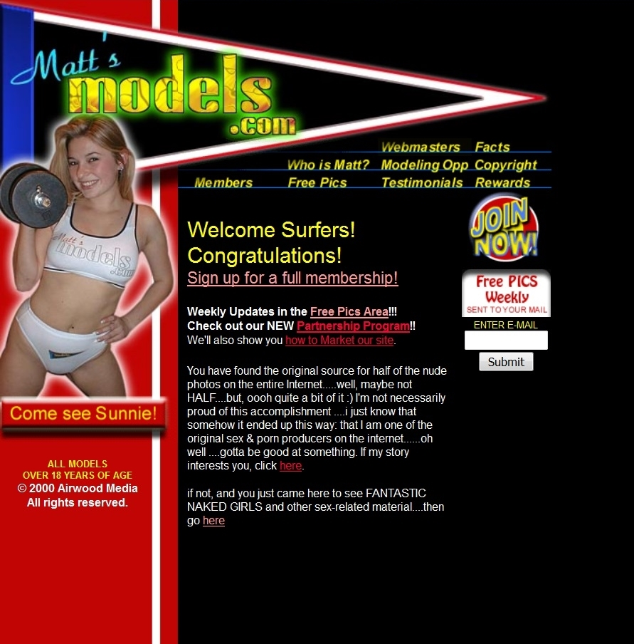 screenshot of www.MattsModels.com Welcome page the guy next door from 1999