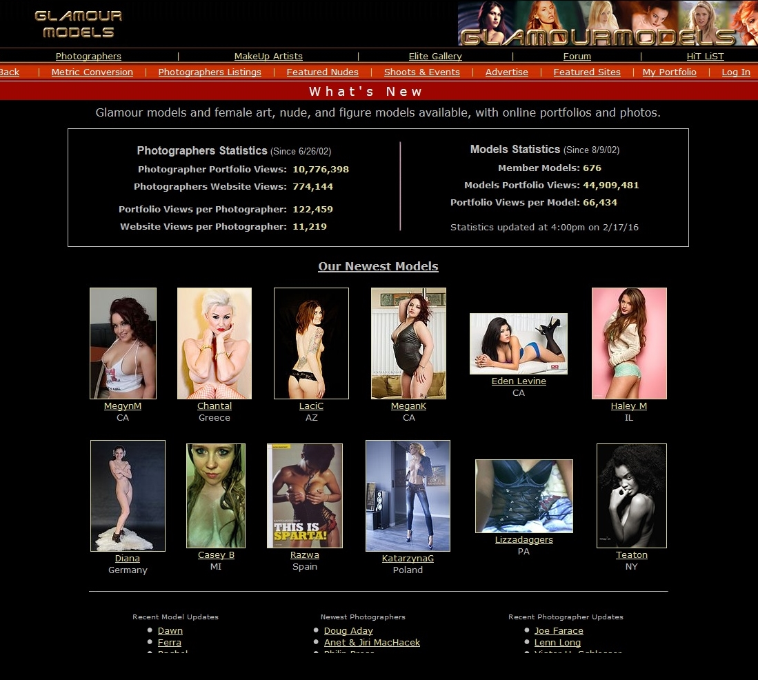 Glamour Models Homepage Screenshot